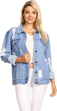 Womens Denim Dress Jacket Mid Blue Wash Look Top Full Sleeve Stretch Jean Coat