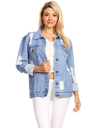 a037b01f4c3 Anna-Kaci Oversized Grunge Chic Distressed Boyfriend Long Sleeve Denim  Jacket