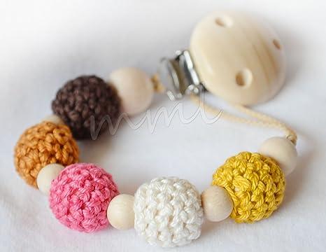 Cadena para chupete con 5 perlas de ganchillo: Amazon.es: Bebé