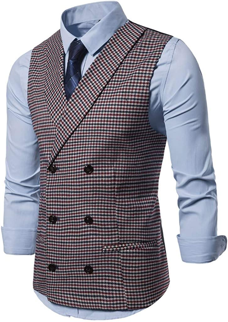 Dearprias Mens Formal Dress Business Slim Fit Sleeveless Jacket Vest Waistcoat Wedding Suit