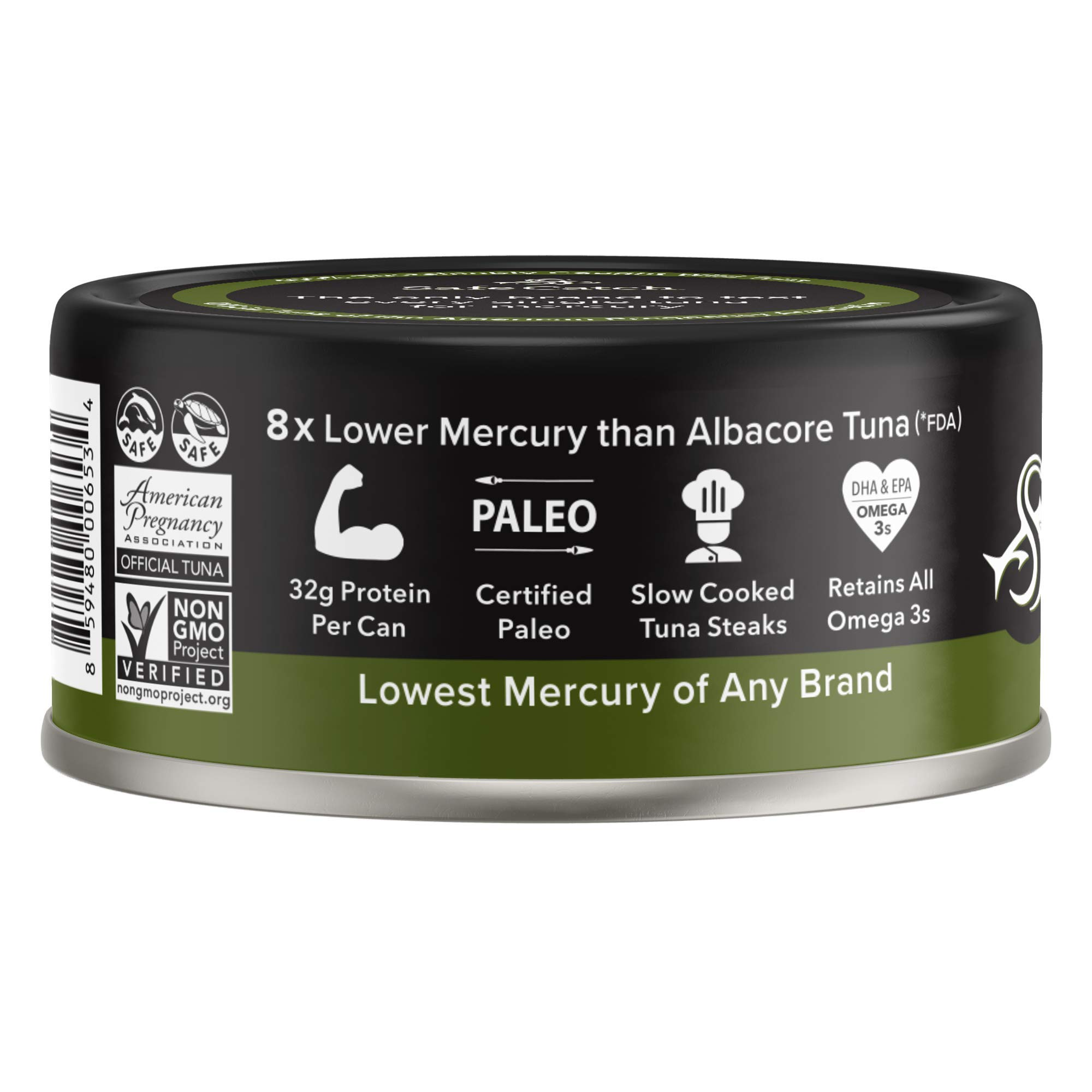 Safe Catch Ahi, Lowest Mercury Solid Wild Yellowfin Tuna Steak, 5 oz Can. The Only Brand to Test Every Tuna for Mercury (6 Pack in Avocado Oil) by Safe Catch (Image #2)
