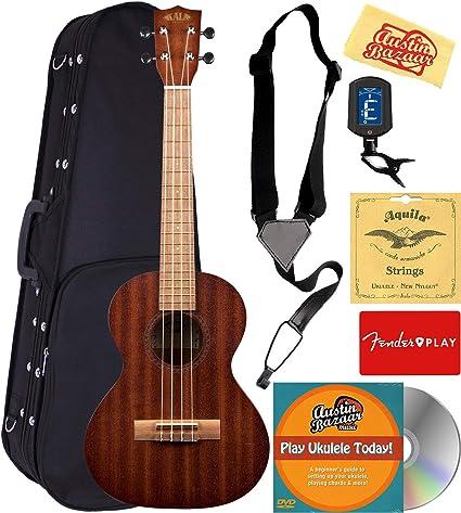 Strings and Tuner Strap Kala KA-15T Tenor Ukulele Bundle w// Gig Bag