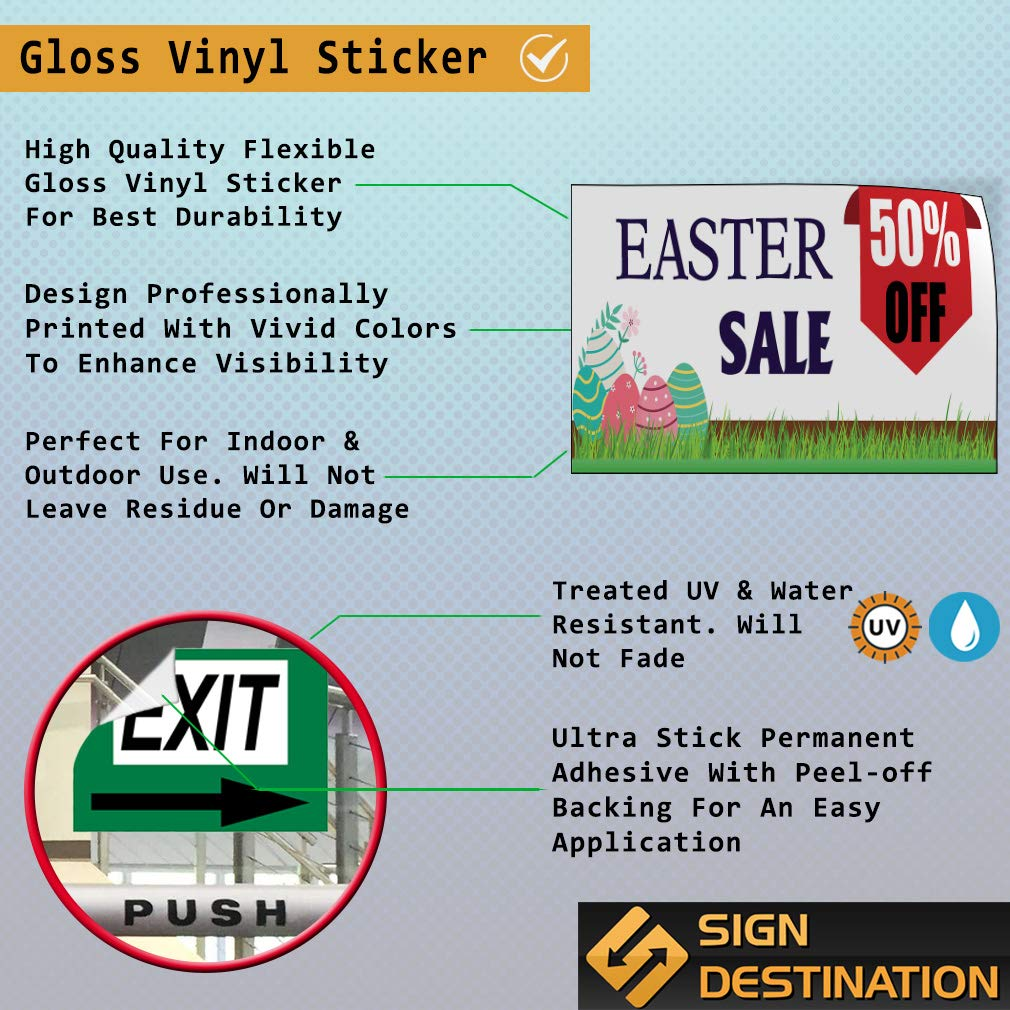 Custom Door Decals Vinyl Stickers Multiple Sizes Easter Sale up to Percentage Off Holidays and Occasions Easter Special Outdoor Luggage /& Bumper Stickers for Cars White 52X34Inches Set of 5