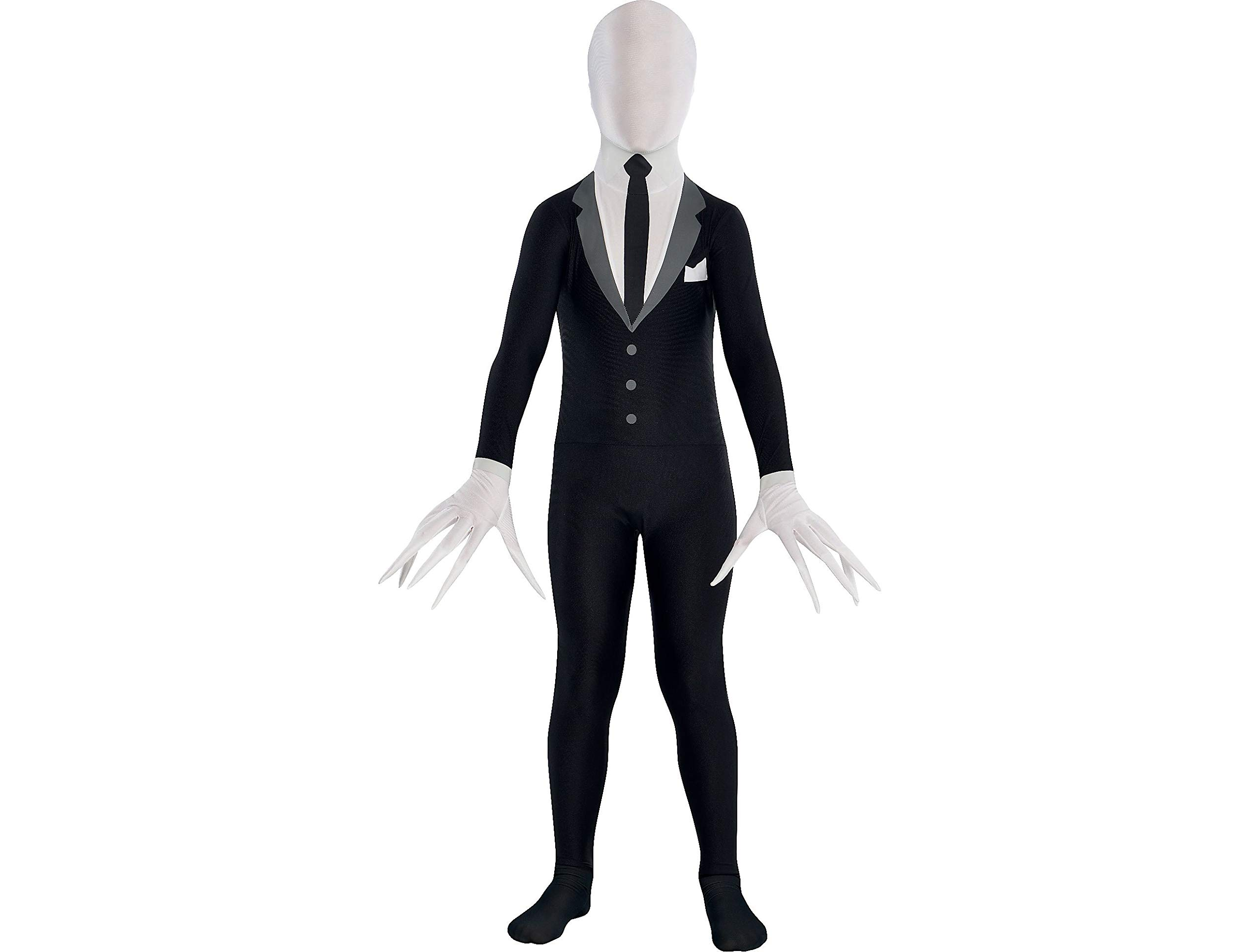Party City Slender Man Partysuit Halloween Costume for Teens, Small, with Double Zipper