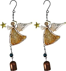 VOKPROOF Angel Wind Chimes - Fairy Garden Decor Wind Bells Indoor and Outdoor Decoration, Metal Musical Wind Chime for Home, Patio, Festival Gifts for Mom (Set of 2 - Pink Angel)