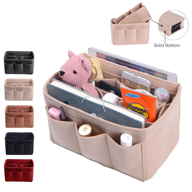 Purse Organizer, Bag Organizer With Sewn Bottom Insert New Design, Medium, Large (Large, Beige)