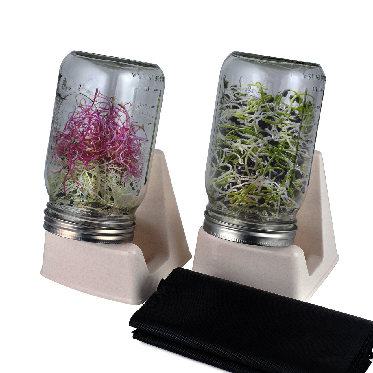CASAFE+ Sprouting Kit - 2 In 1 Stand and Stainless Steel Lid For Wide Mouth Ball or Kerr Mason Jars (2 Set by CASAFE+