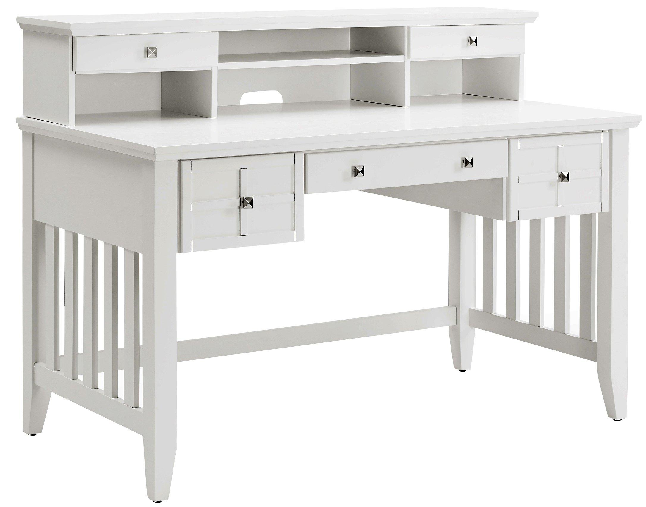 Crosley Furniture Adler Computer Desk with Hutch - White by Crosley Furniture