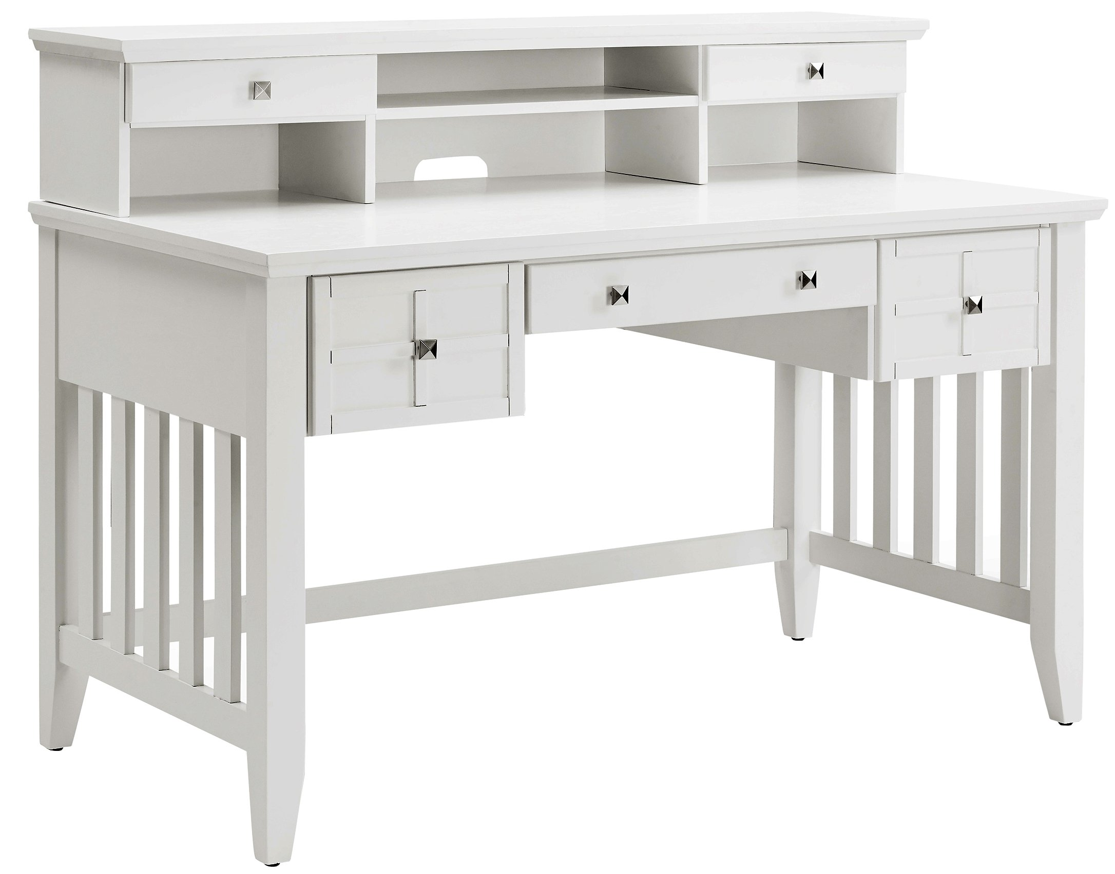 Crosley Furniture KF65003WH Adler Computer Desk with Hutch - White