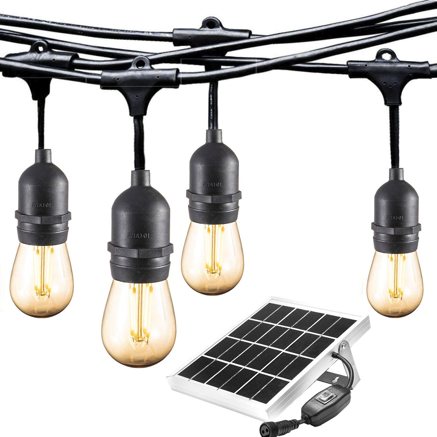 ASHIA LIGHT Ashialight Waterproof Solar LED Outdoor String Lights- Low Voltage, Hanging Socket, Vintage Edison Bulb- 25ft Heavy Duty Bistro Lights Create Cafe Ambience for Patio and Backyard