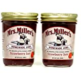 Mrs. Miller's Amish Homemade Strawberry No Granulated Sugar Added Jam 8 oz/226g - Pack of 2 (Boxed)
