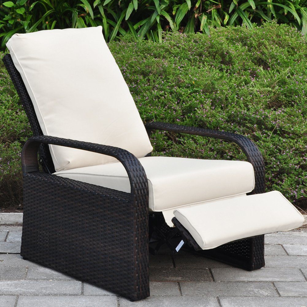 Amazon.com  Outdoor Resin Wicker Patio Recliner Chair with Cushions Patio Furniture Auto Adjustable Rattan Sofa with Bonus Armrest Organizer ... & Amazon.com : Outdoor Resin Wicker Patio Recliner Chair with ... islam-shia.org