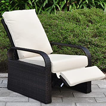 outdoor resin wicker patio recliner chair with cushions patio furniture auto adjustable rattan sofa with
