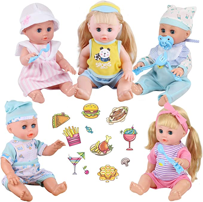 Young Buds Set of 5 Outfits with Pacifiers & Bibs