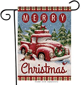 Artofy Merry Christmas Vintage Red Truck Decorative Small Garden Flag, Winter House Yard Outside Cardinal Buffalo Plaid Decor Xmas Holiday Seasonal Outdoor Home Decorations Vertical Double Sided 12x18