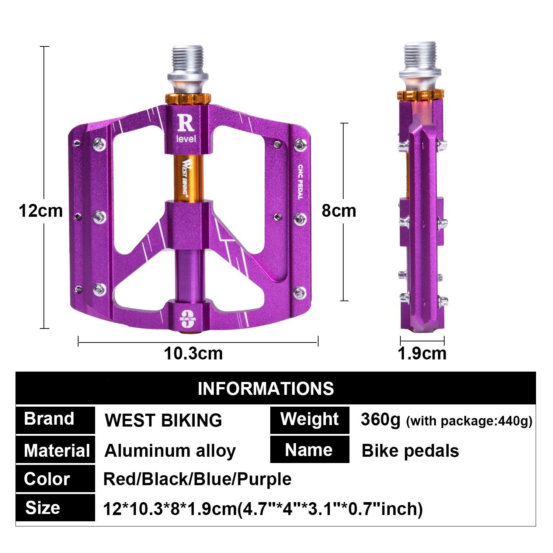 Pedales de Bicicleta 22,86/40,64 cm, Pedales de plataforma West Biking para mountain bikes, de aleación de aluminio plano y 3 ejes de rodamiento sellados ...
