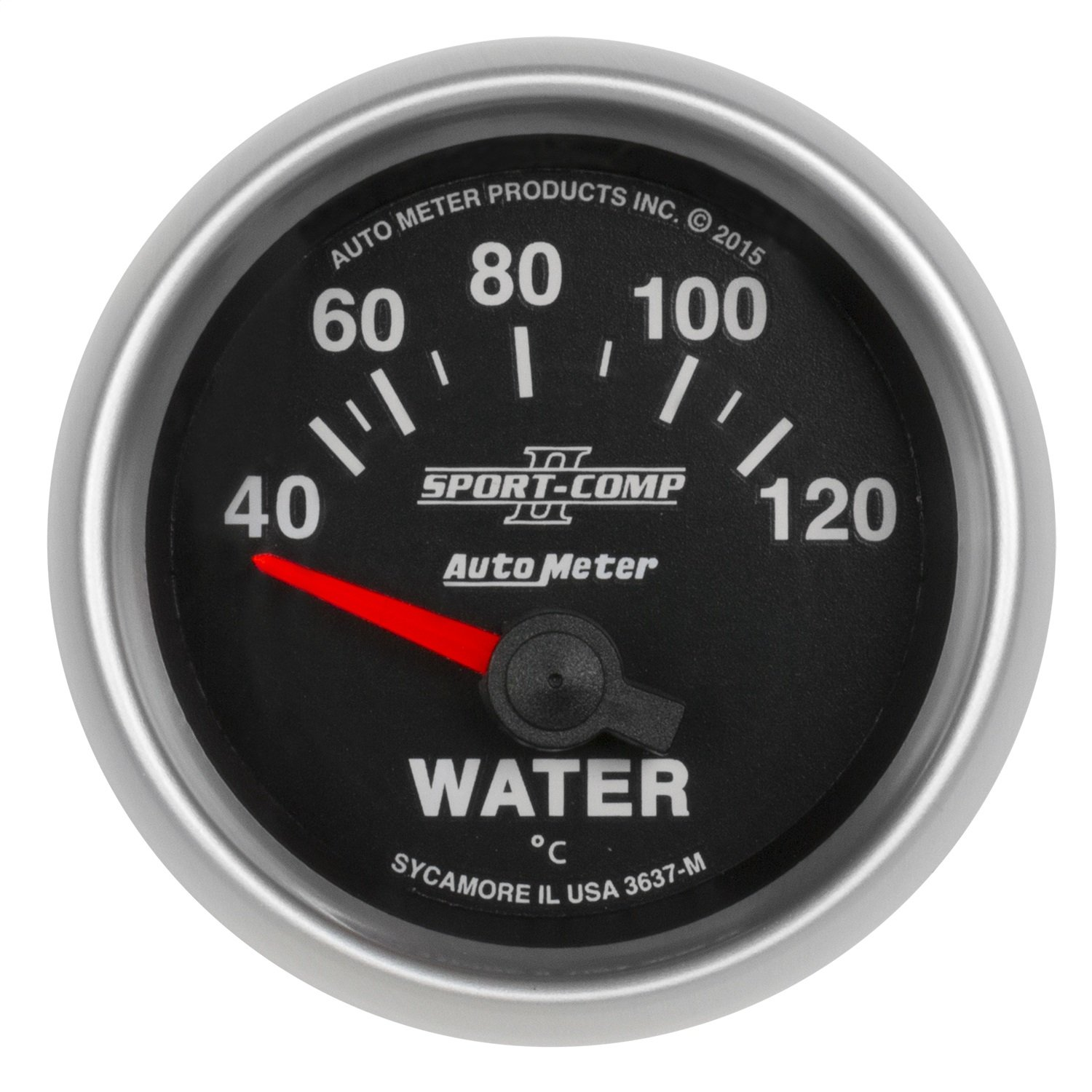 AutoMeter 3637-M Sport-Comp II Electric Water Temperature Gauge 2-1/16 in. Black Dial Face Auto Meter