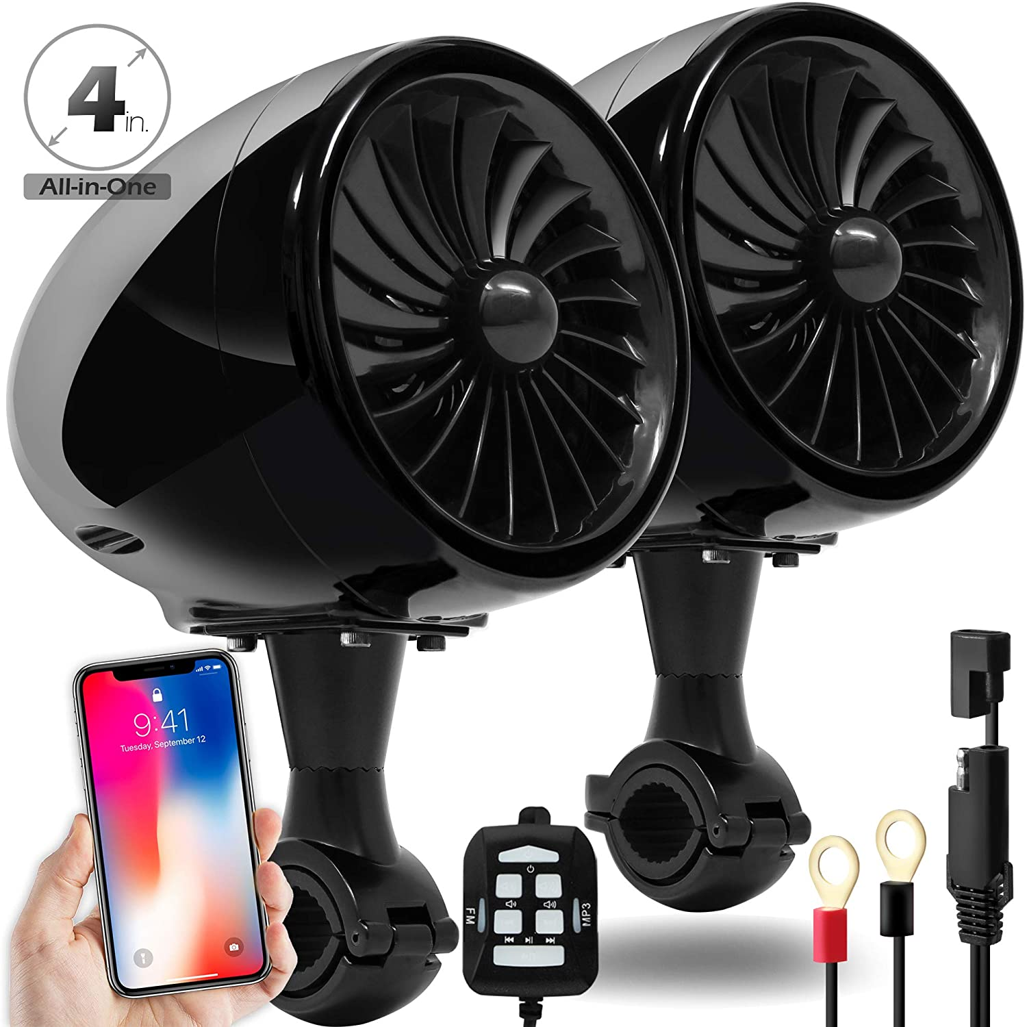 GoldenHawk 300W All-in-One 4' Full Range Waterproof Bluetooth Motorcycle Stereo Speakers 7/8-1.25 in. Handlebar Mount w/AUX & Wired Control Music Player Audio Amp System Harley Touring Cruiser ATV UTV Golden Hawk USA