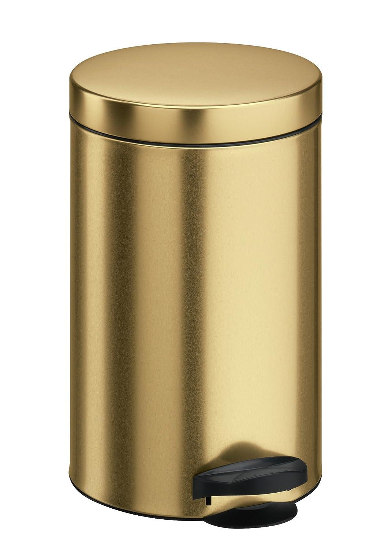 25 x 25 x 39 cm Made in Italy Lamiera litografata colore Oro con Secchio in plastica Meliconi Pattumiera a Pedale 14 lt
