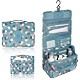 Portable Waterproof Travel Cosmetic Bag - Lady Color Portable Travel Makeup Kit Organizer Bathroom Storage Cosmetic Bag Carry Case Toiletry Bag with Hanging Hook (Blue Flowers)
