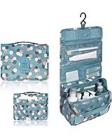 Portable Travel Makeup Cosmetic Bag - Mr.Pro Waterproof Haning Travel Kit Toiletry Bag Bathroom Organizer Carry On Case (Polka Dot Blue)