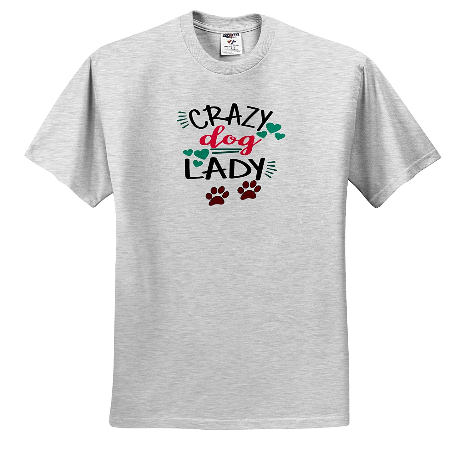 Paws and Hearts Crazy Dog Lady 3dRose AMansMall Animal Typography Adult T-Shirt XL Funny Dog Lover ts/_313483
