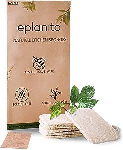 eplanita Natural Dishwashing Sponges (Pack of 6), Kitchen Eco Scrub Scourer, Natural Loofah Plant, Biodegradable and Zero Waste
