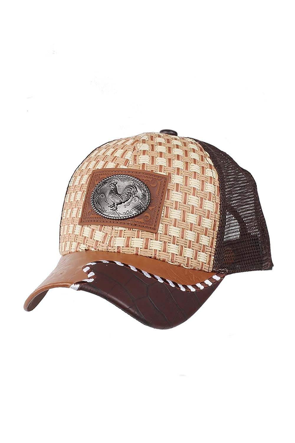 Straw Rooster Chicken Metal Symbol Mesh Patched Trucker Adjustable Baseball Cap Hat USA Headware