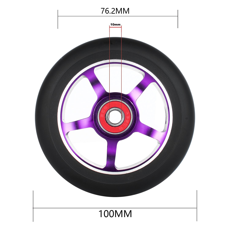 con cuscinetti a sfera ABEC 9 Ruota di ricambio per monopattino professionale Pro colore: nero 2 pezzi 100 mm adatta per MGP//Razor//Lucky