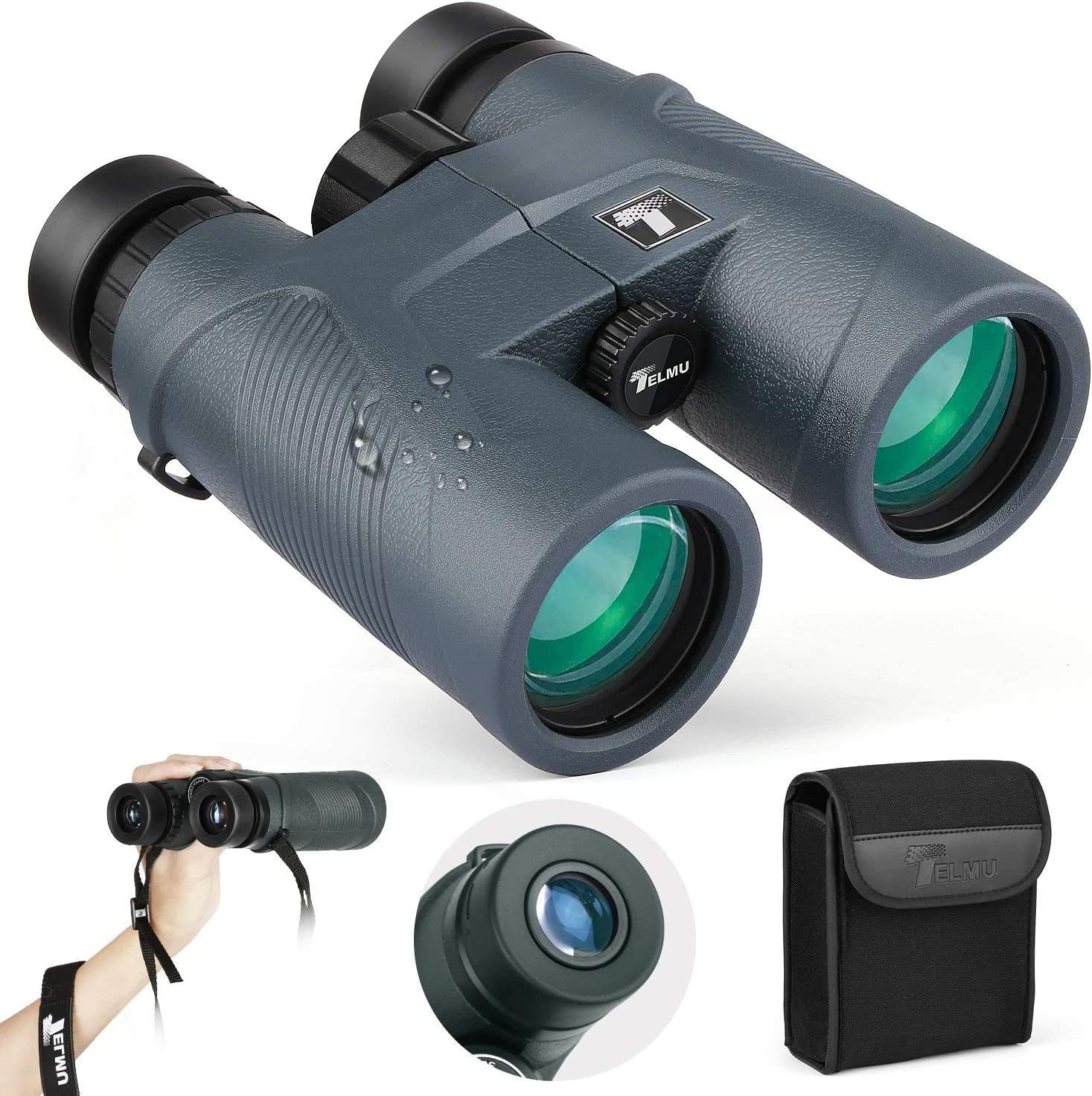 TELMU Binoculars 10×42 for Adults, with BAK-4 Prism and Multi Coated FMC for Outdoor Birdwatching Sports Events, Hunting and Hiking