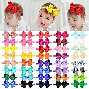 "40pcs Baby Girls Grosgrain Ribbon Hair Bows Headbands 4.5"" Elastic Hair Band Hair Accessories for Infants Newborn"