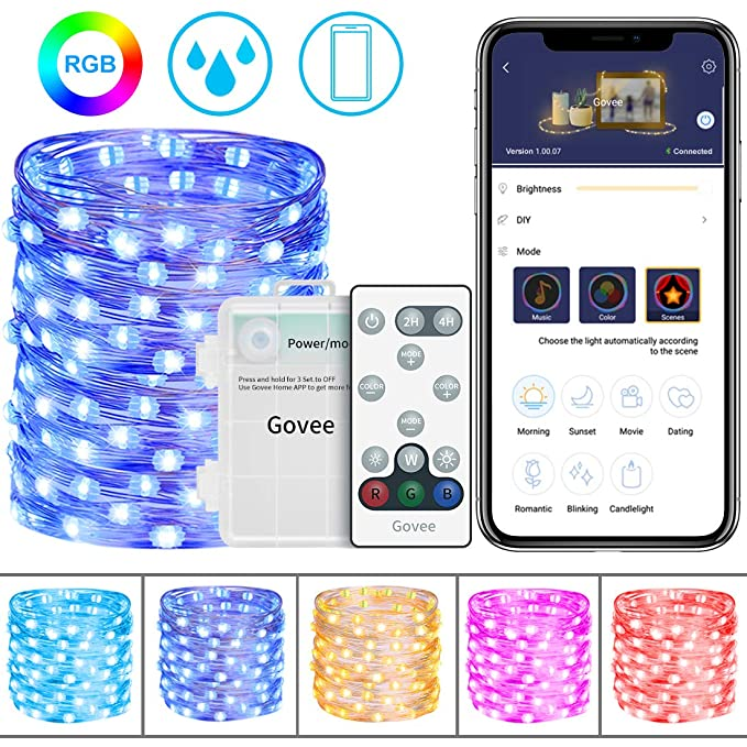 Govee Fairy String Light 16.4 Ft With 50 Le Ds, 16 Colors Changing Waterproof Fairy Light Battery Operated With Remote Control And Bluetooth App For Home Patio Party Wedding Festivals by Govee