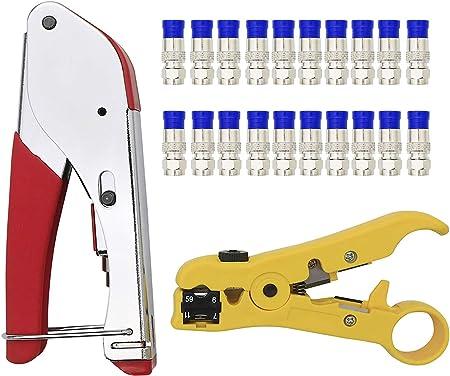 20 x RG6 Crimp Connector Coaxial Cable Stripper RG6 Crimper Crimping Tool