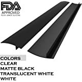 22 inches Silicone Stove Counter Gap Cover (Set of 2) by Kettio, Seals Out Spills Between Counters, Appliances, Dryers, Stoves, Washing Machines and More - Matte Black