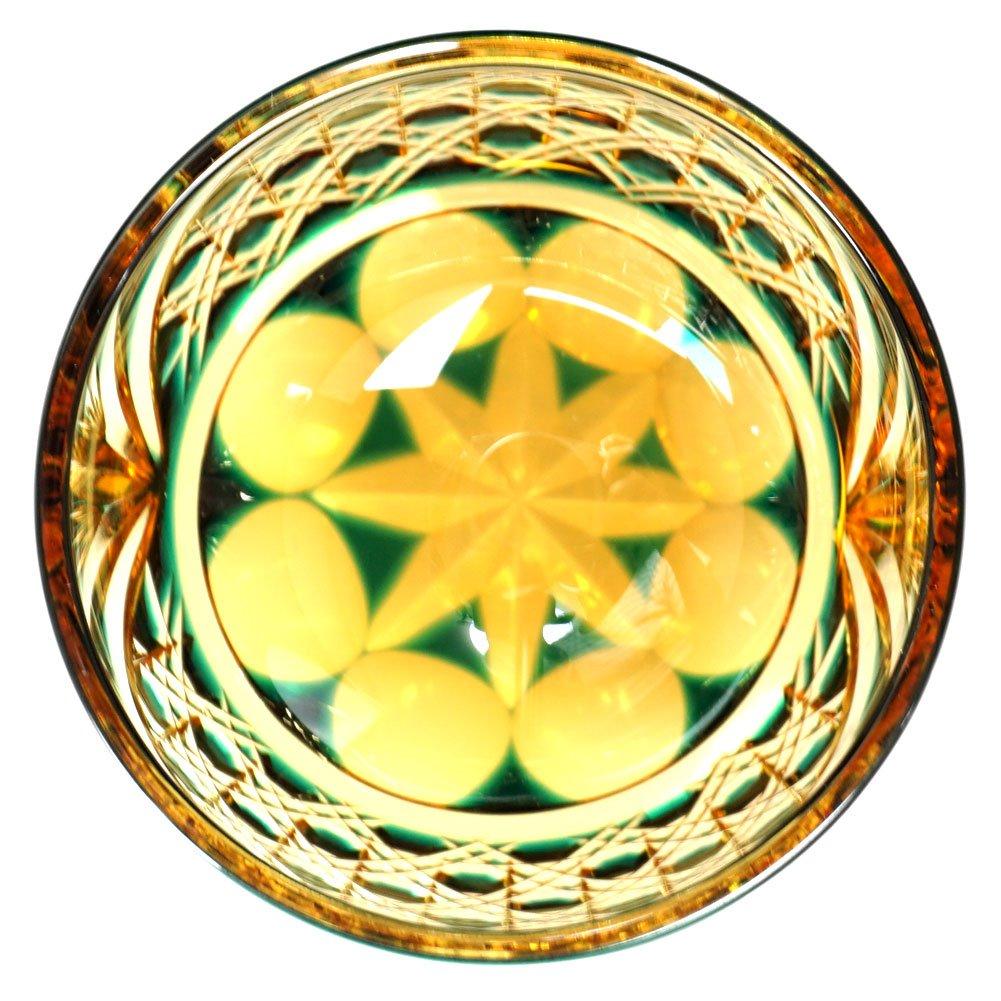 Crystal Sake Cup Edo Kiriko Guinomi Cut Glass Octagon Hakkaku-Kagome Pattern - Green x Amber [Japanese Crafts Sakura] by Japanese Crafts Sakura (Image #4)