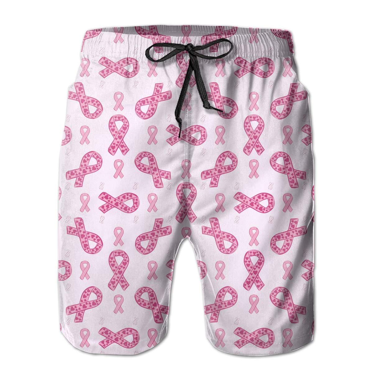 Xk7@KU Mens Athletic Swim Trunks Polyester Pink Ribbon and Heart Pattern Beachwear with Pockets