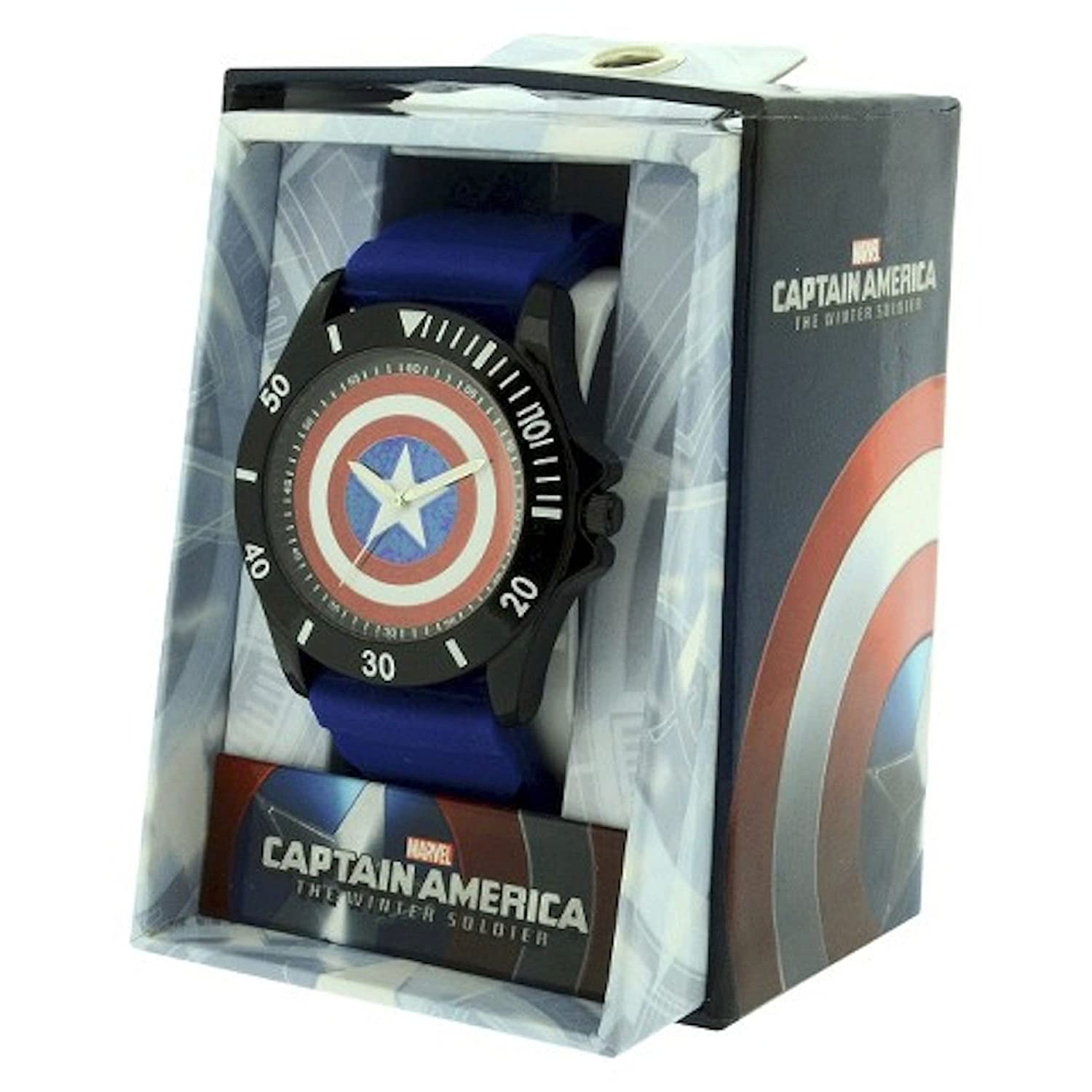 Amazon Captain America Blue Rubber Shield Watch Cta1101