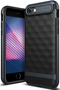 Caseology Parallax for Apple iPhone 8 Case (2017) / for iPhone 7 Case (2016) - Award Winning Design - Black/Deep Blue