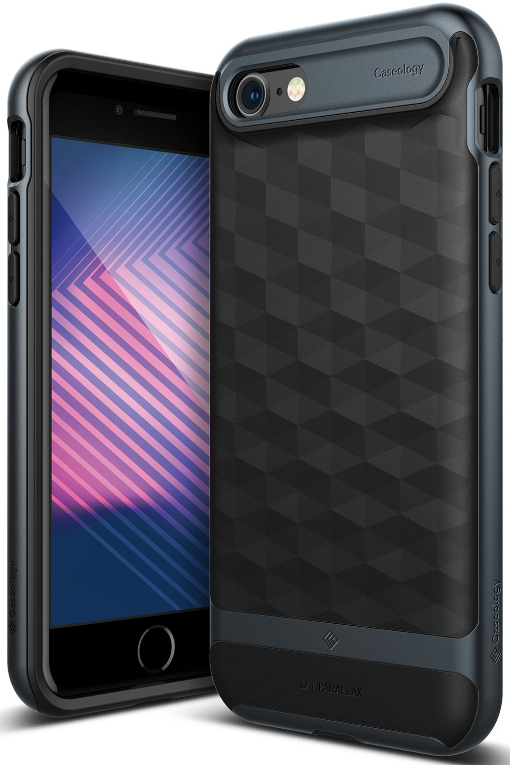 online store 73d13 db238 Caseology Parallax for Apple iPhone 8 Case (2017) / for iPhone 7 Case  (2016) - Award Winning Design - Black/Deep Blue