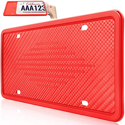 Uxinuo License Plate Frame Universal American Auto License Plate Holder, Rust-Proof, Rattle-Proof, Weather-Proof with 3 Drainage Holes, Red, 1 Pack: Automotive