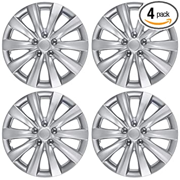 BDK KT-1038-16_amking1 Silver Hubcaps Wheel Covers for Toyota Corolla 2011-2013 (16 inch) – Four (4) Pieces Corrosion-Free & Sturdy – Full Heat & ...