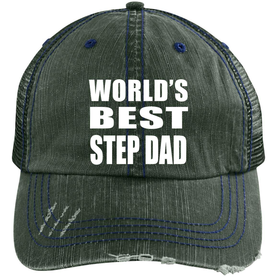 e63eff2542d Amazon.com  World s Best Step Dad - Distressed Trucker Cap Brown Navy One  Size  Clothing