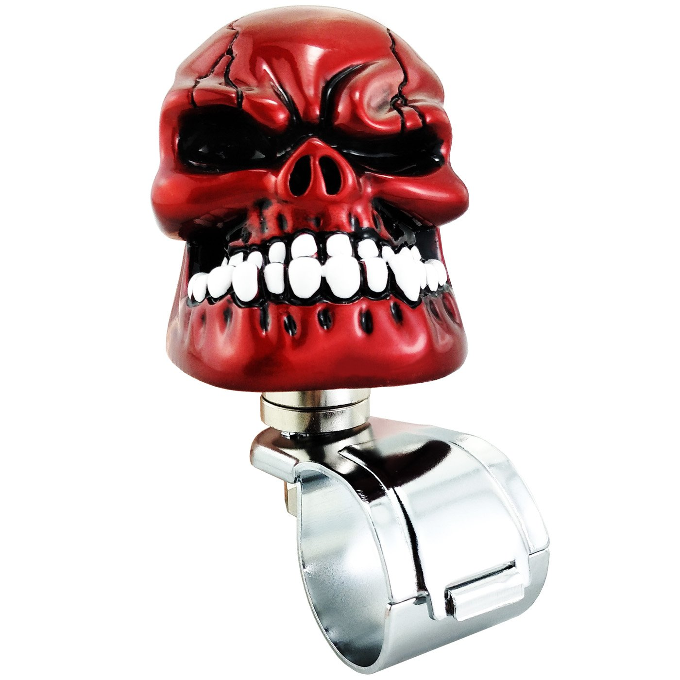 LUNSOM Cool Power Handle Spinner Skull Steering Wheel Knob for Car Accessory Universal Red Spinner Wheel (Red Hat)