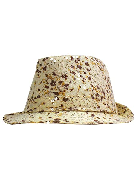Ivory   Brown Sequined Floral Fedora Hat at Amazon Women s Clothing store  110e6be139f