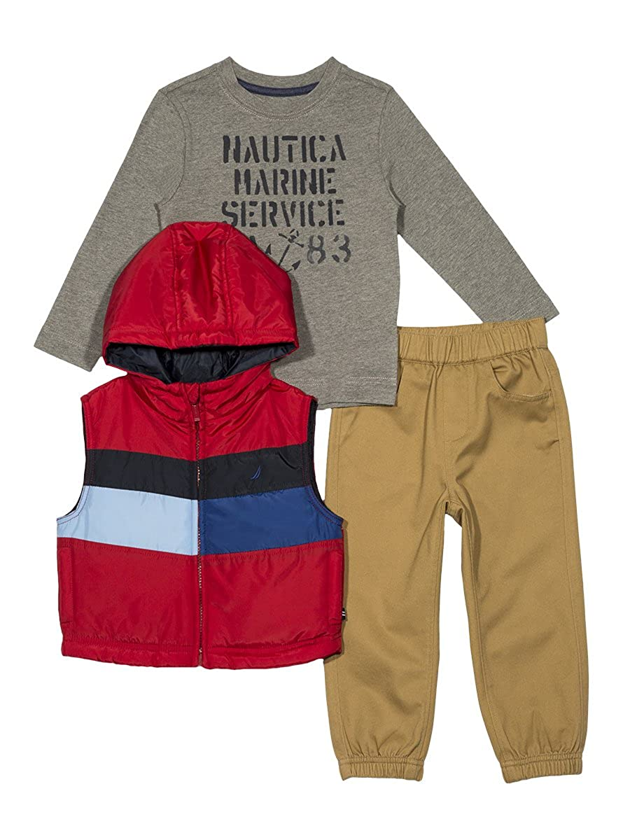Nautica Boys' Toddler Puffer Vest Tee and Jogger Three Piece Set