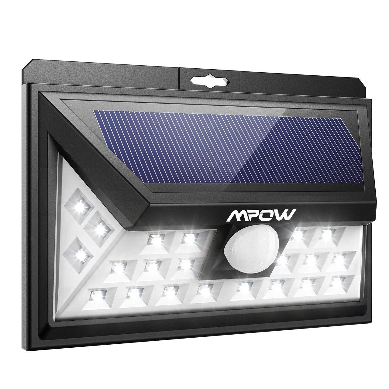 Mpow 24 LED Weitwinkel Solarleuchten Außen Solar Betriebene Außenleuchte, Wandleuchte, Energiesparend (1)