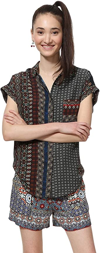 Desigual Shirt Short Sleeve Azhar Woman Brown Camisa para Mujer: Amazon.es: Ropa y accesorios