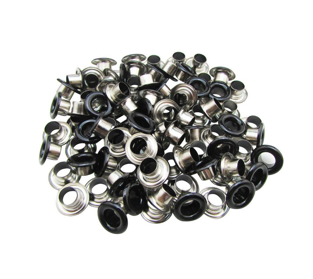 100pcs 6mm Brass Eyelets Grommets Matt Black DIY Leather Crafts Bags Clothing