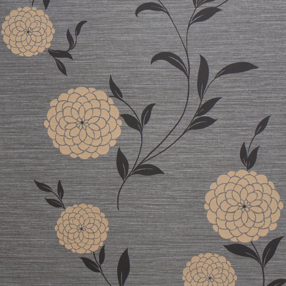 Pom Pom Black Floral Vinyl Wallpaper For Walls Sample Swatch
