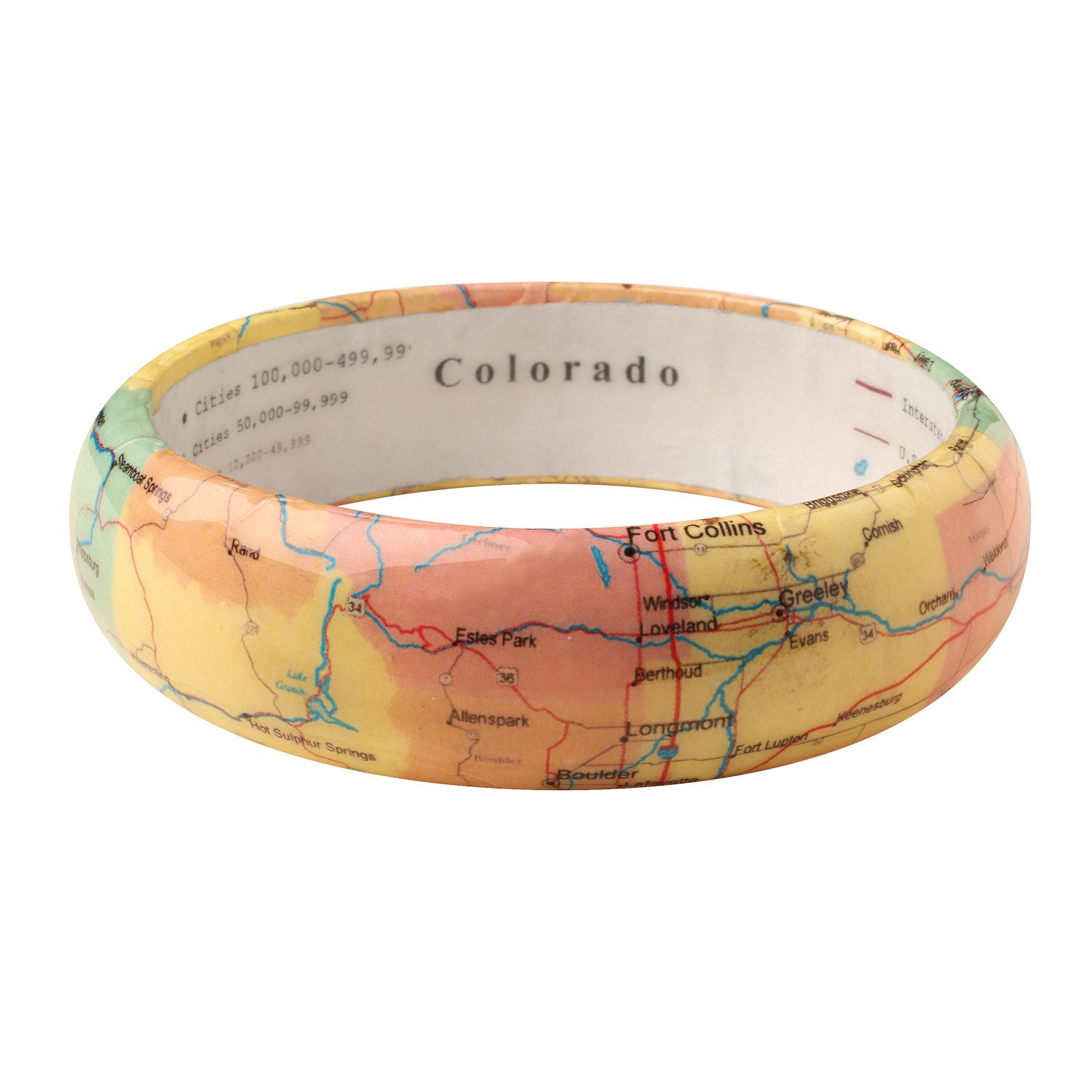 FLORIANA Women's State Map Bangle Bracelet - Clear Resin over Paper Map - Colorado